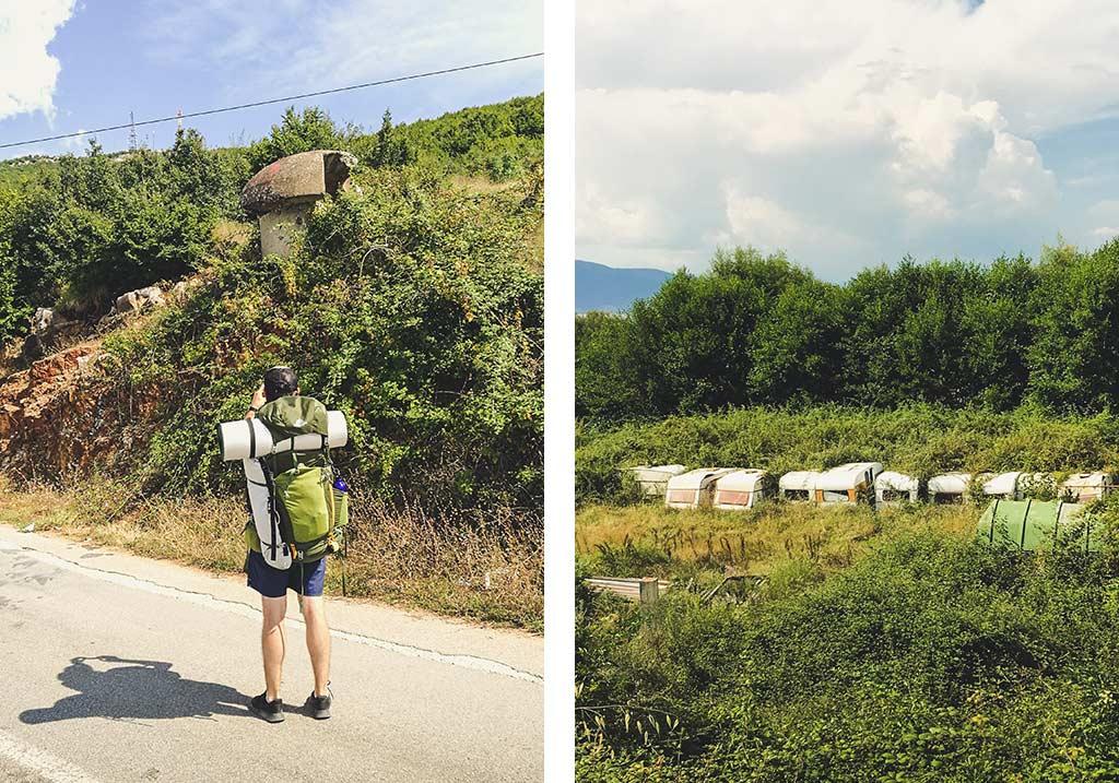 bunkier i przyczepy kampingowe na granicy albańsko-macedońskiej