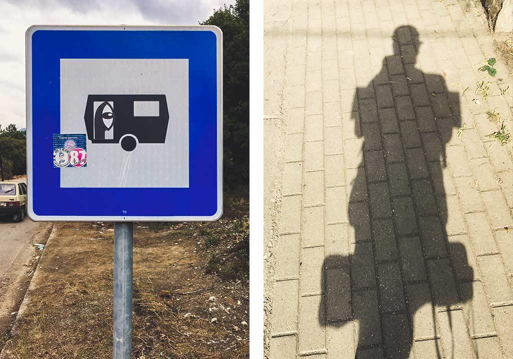 wlepka noriakiego na znaku drogowym w macedonii