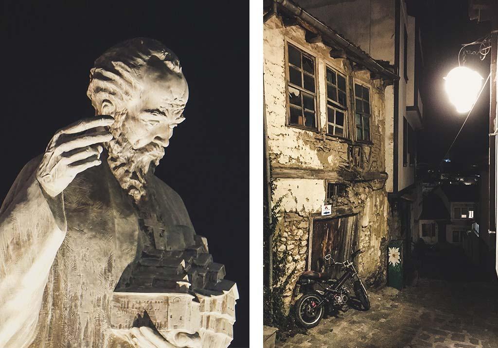 miasto ochryda nocą