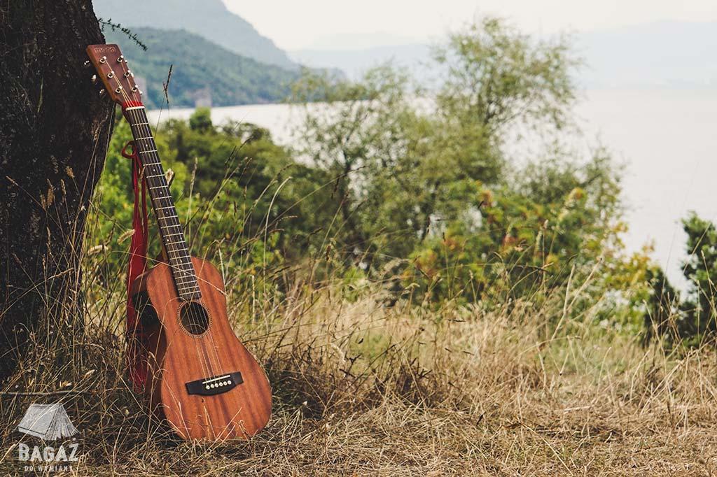 gitara pod drzewem na brzegu jeziora ochrydzkiego