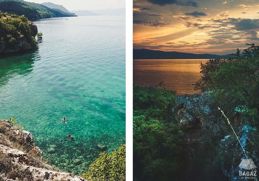 jezioro ochrydzkie za dnia i wieczorem