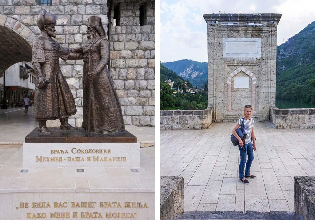 most na drinie i rzeźba przy Andrićgradzie