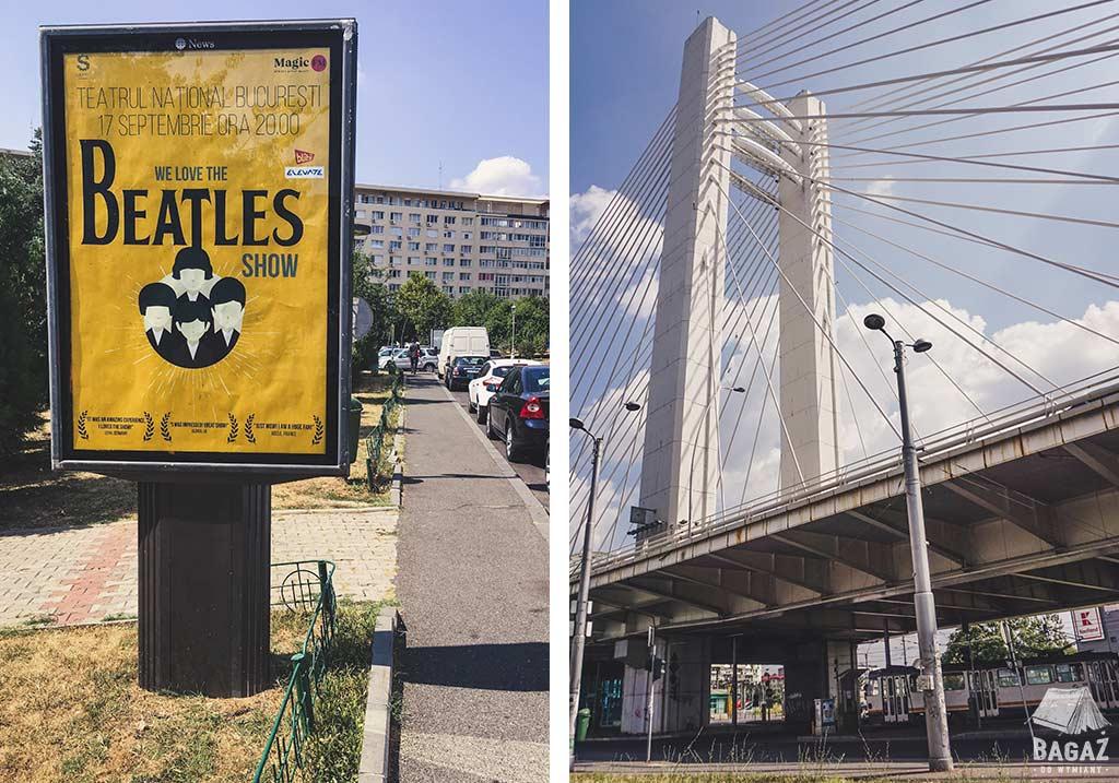 wiadukt w bukareszcie i plakat reklamujący sztukę o the beatles