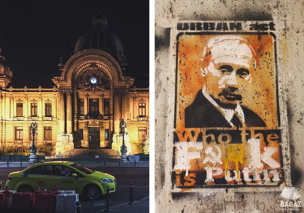 bukareszt nocą i streetart z putinem