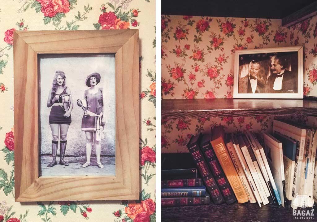 książki i zdjęcia oprawione w ramki w barowej toalecie w kiszyniowie