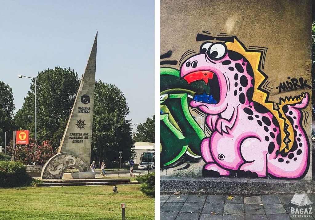 graffiti i rondo przy wyjeździe z Nessebar