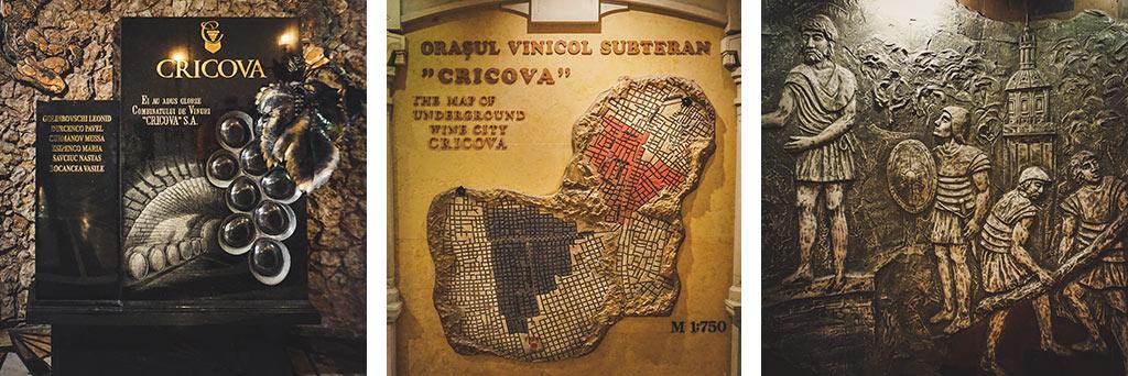 płaskorzeźby i pomniki w mołdawskiej winiarni