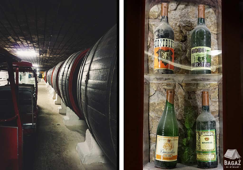 korytarze pełne beczek w winnicy cricova i stare egzemplarze win w gablocie