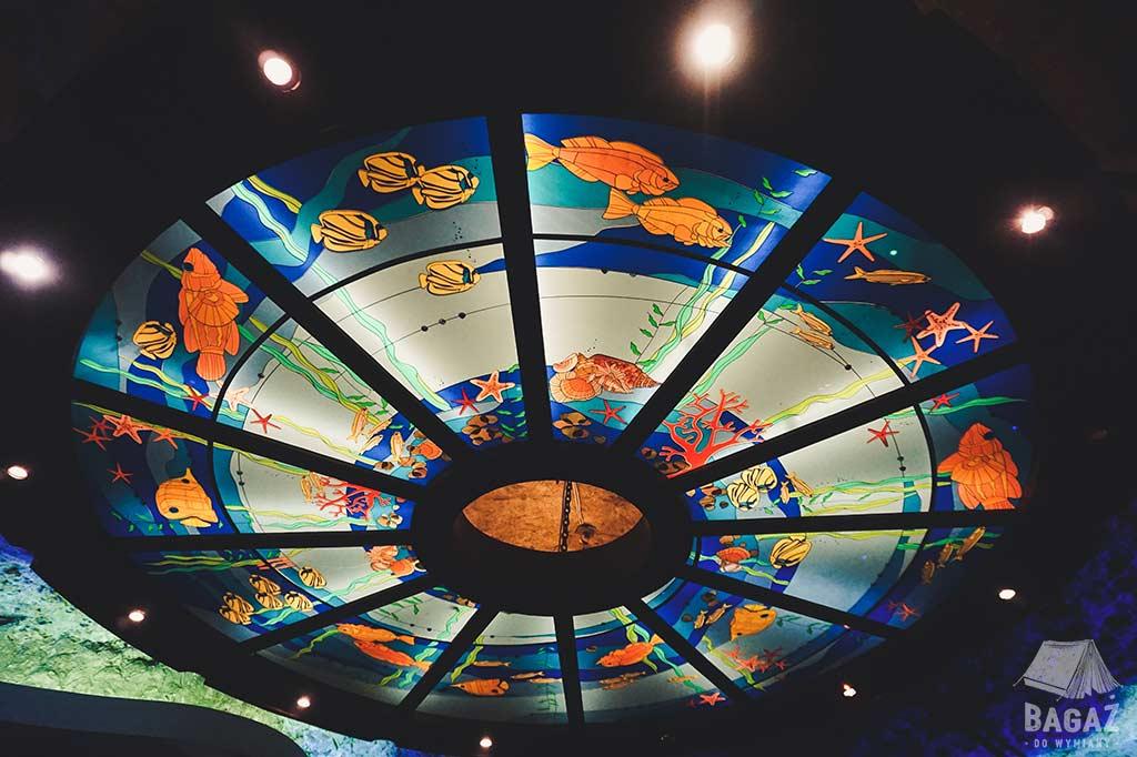 podświetlany i zdobiony sufit sali morskiej