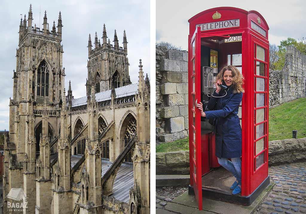 katedra york minster i kobieta w czerwonej budce telefonicznej