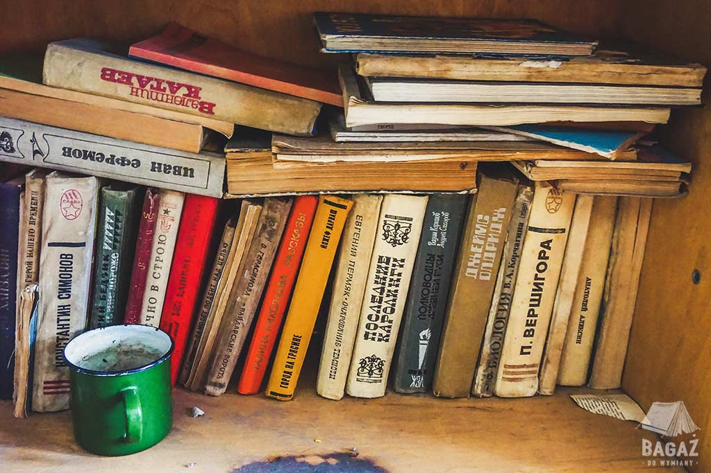 książki w języku rosyjskim ustawione na półce