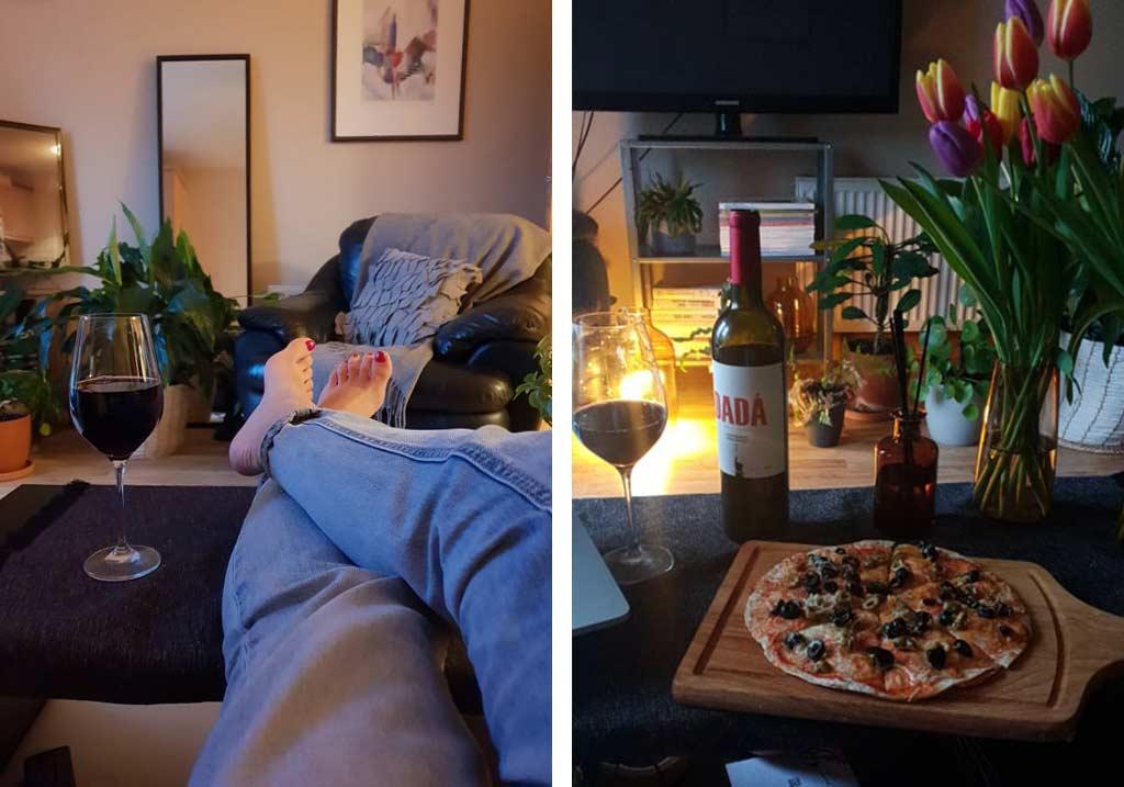 pizza wino i odpoczynek