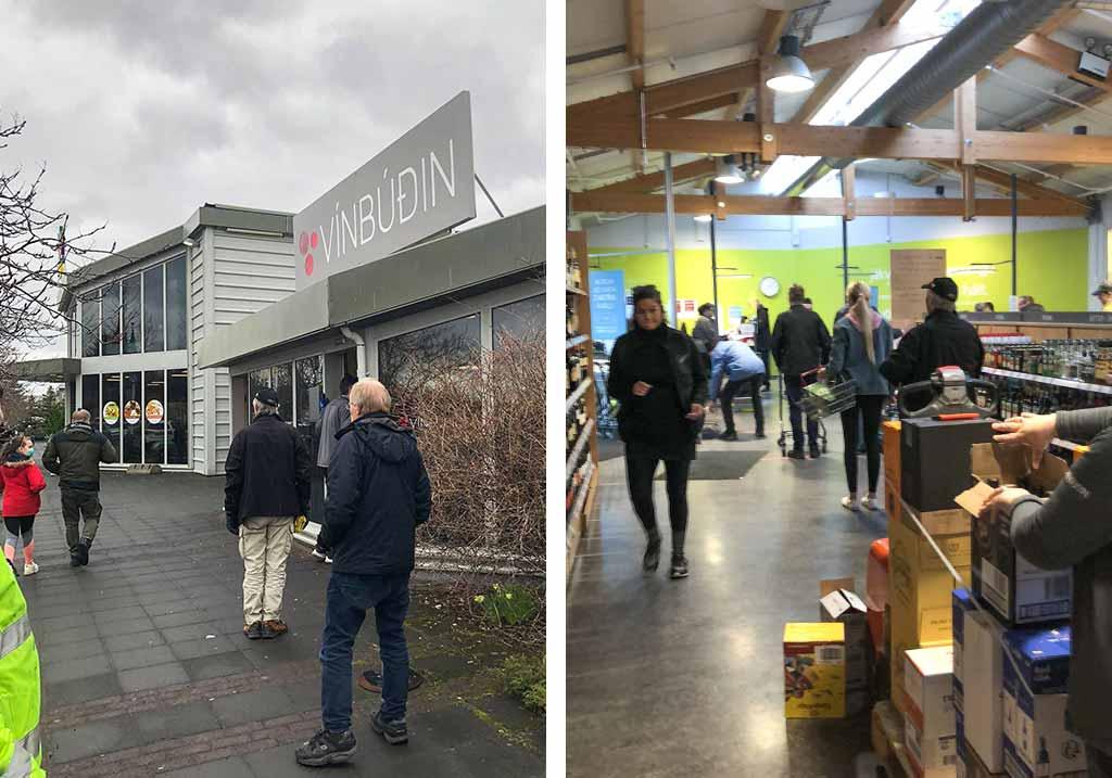 koronawirus islandia reykjavik kolejki do sklepu