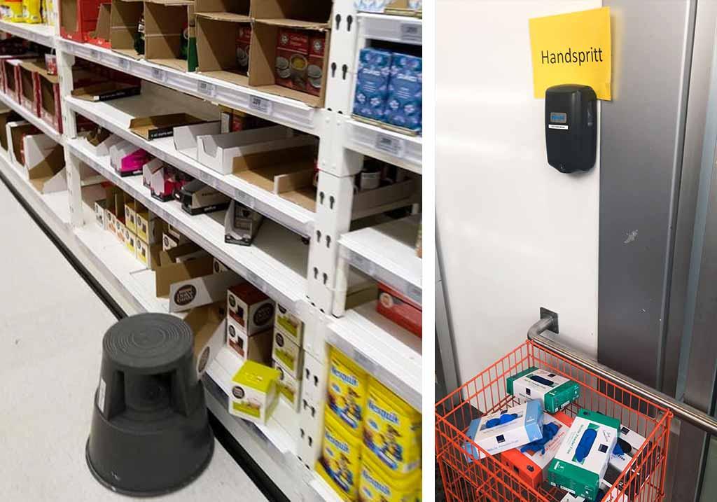 opróżnione półki sklepowe i środki dezynfekujące w sklepie w reykjaviku podczas epidemii koronawirusa