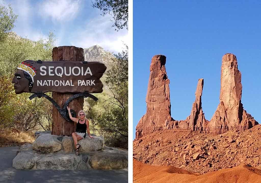 kobieta w sequoia park i góry w stanach zjednoczonych